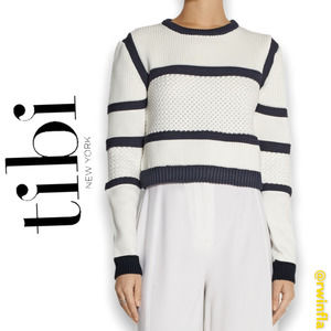 Tibi Sailor Cropped Knitted Sweater Striped